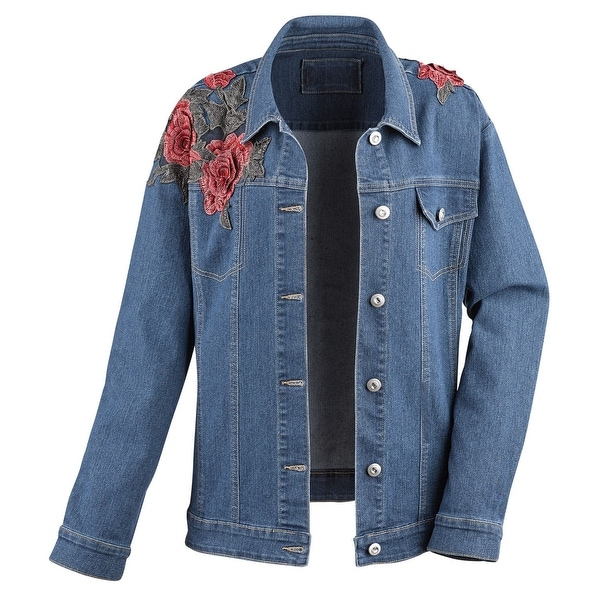 f38d841df1 ... Women s Clothing     Jackets. Women  x27 s Denim Jacket -Loose Fit  Floral Roses Embroidery  amp  Crystal