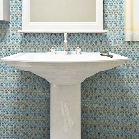 "SomerTile Hudson Penny Round Marine 12"" x 12.63"" Porcelain Mosaic Tile"