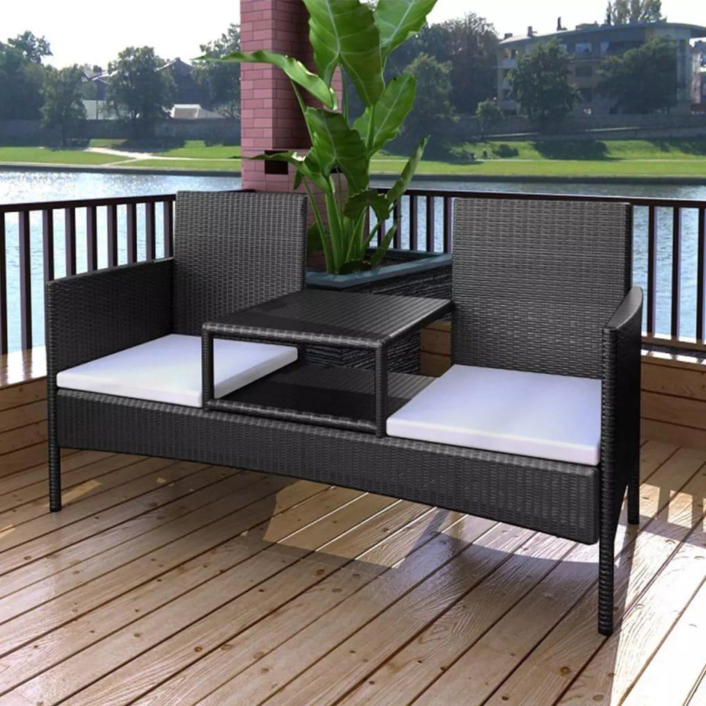 Awe Inspiring Vidaxl Two Seater Bench With Tea Table Poly Rattan Black Frankydiablos Diy Chair Ideas Frankydiabloscom