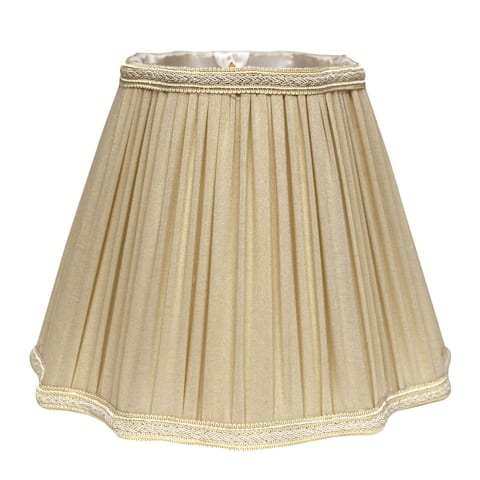 Cloth & Wire Slant Inverted Corners Fancy Square Pleated Softback Lampshade with Washer Fitter, Taupe