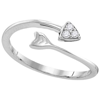 Sterling Silver Womens Round Natural Diamond Arrow Band Fashion Ring 1/20 Cttw - White