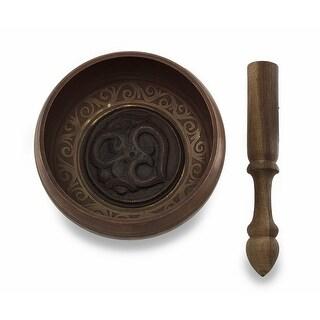 Copper Finish Tibetan Meditation Singing Bowl w/Wooden Mallet