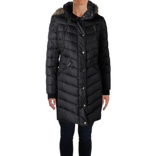 MICHAEL Michael Kors Womens Petites Puffer Coat Faux Fur Hooded - ps