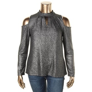 Cupio Womens Casual Top Foiled Cold Shoulder