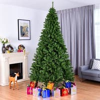 Costway 9FT PVC Artificial Christmas Tree 2132 Tips Premium Hinged w/ Solid Metal Legs - Green