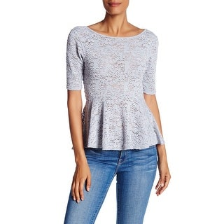 Free People NEW Silver Womens Size Large L Floral Lace Peplum Knit Top