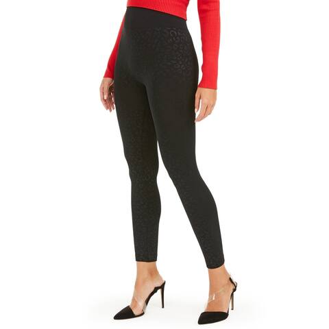 INC Women's Seamless Animal-Print High-Waisted Leggings, Black, XS/S