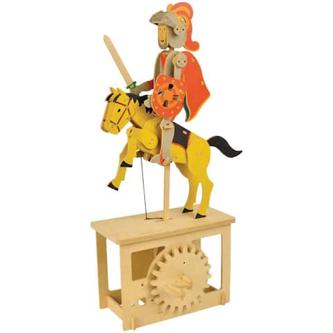 What on Earth Wooden Mechanical Red Knight Puzzle Construction Kit - Crank Operated - 7.25 in. x 4.25 in. x 14 in.