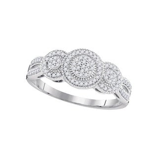 1/4Ctw Diamond Micro-Pave Bridal Engagement Ring 10K White-Gold