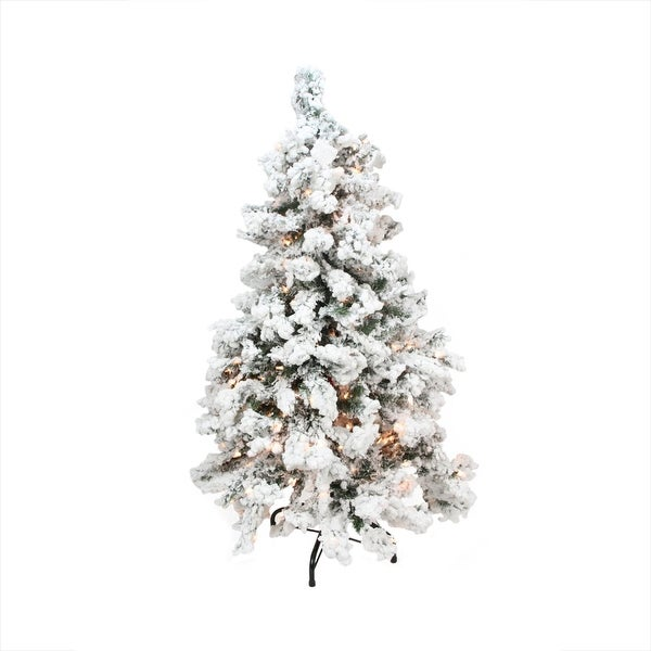 2' Pre-Lit Heavily Flocked Pine Medium Artificial Christmas Tree - Clear Lights - Green