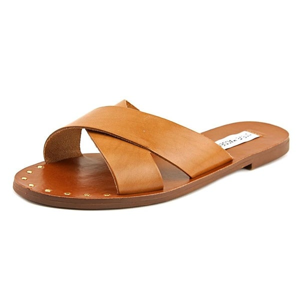 shop steve madden dryzzle women open toe leather brown slides sandal