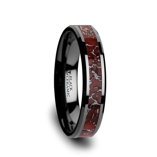 THORSTEN - TRIASSIC Red Dinosaur Bone Inlaid Black Ceramic Beveled Edged Ring - 4mm
