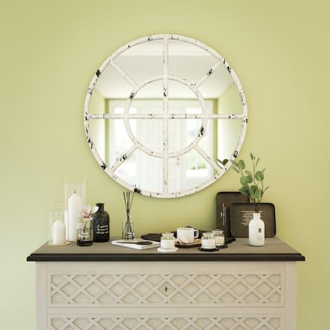 """Gaston Distressed White Round Wall Mirror - 36"""" x 36"""""""