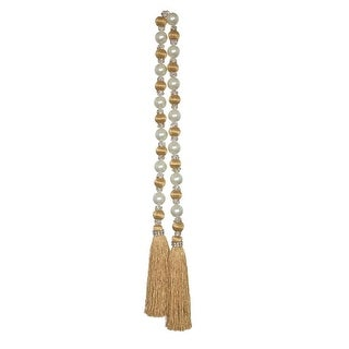 Set of 6 Ivory White and Golden Colored Decorative Bead Garlands with Tassel 35.5