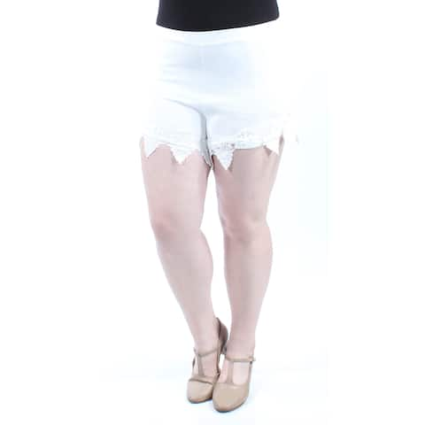 MATERIAL GIRL Womens Ivory Lace Cropped Short Size: XL