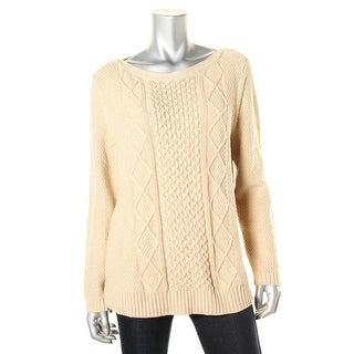 Karen Scott Womens Metallic Cable Knit Pullover Sweater