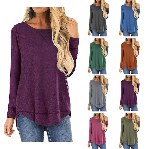 Haute Edition Women's Cross Stitch Loose Fit Long Sleeve Tee with Plus