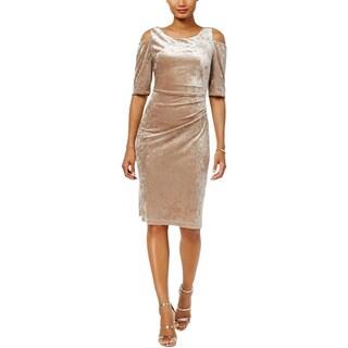 Connected Apparel Womens Cocktail Dress Velvet Cold Shoulder