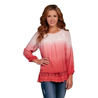 Cowgirl Up Western Shirt Womens 3/4 Sleeve Lace Tunic Coral CG60105