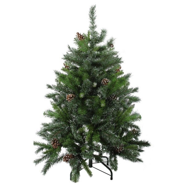 4' Snowy Delta Pine with Pine Cones Artificial Christmas Tree - Unlit - green