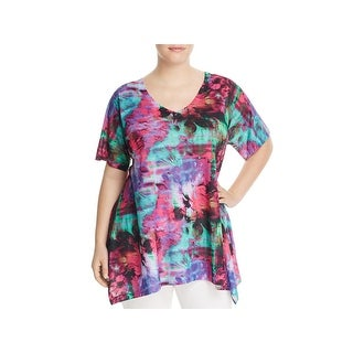 Nally & Millie Womens Casual Top Floral Print Elbow Sleeves