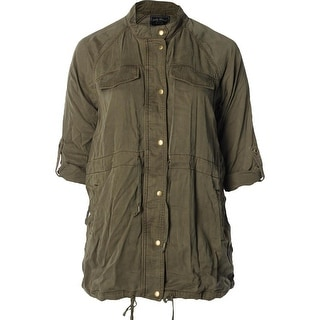 Lucky Brand Womens Plus Military Jacket Tencel Long Sleeves