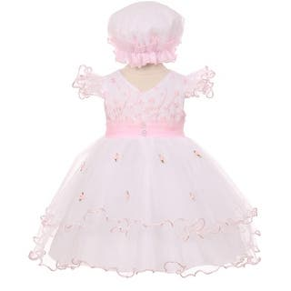 3ff537324bb Baby Girls Pink Floral Embroidery Jewel Ruffle Bonnet Flower Girl Dress  3-24M