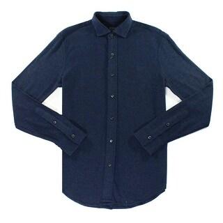 Polo Ralph Lauren NEW Blue Mens Size Large L Knit Button Down Shirt