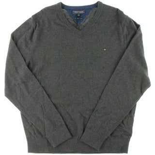 Tommy Hilfiger Mens Ribbed Trim Knit Pullover Sweater
