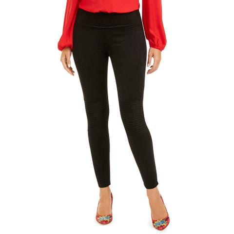 INC Women's Pintucked Moto Soft Faux-Suede High-Waisted Leggings, Black, M