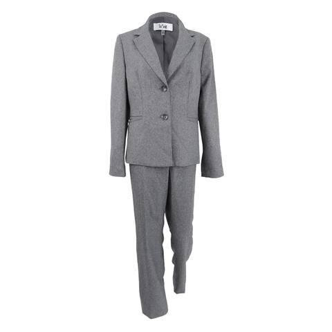 Le Suit Women's Two-Button Pantsuit - Grey - 10