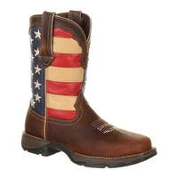"Durango Boot Women's DRD0234 Lady Rebel 10"" Steel Toe Flag Work Boot Brown/Union Flag Full Grain Leather/Synthetic"