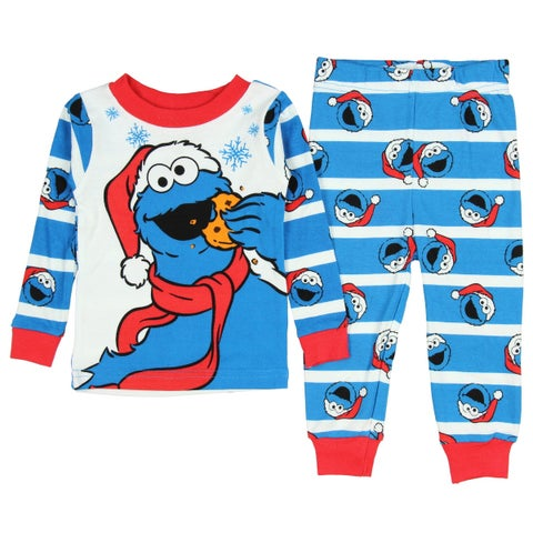 AME Sesame Street Toddler Santa Cookie Monster Christmas 2 Piece Pajamas