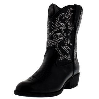 """Laredo Western Boots Boys Cowboy 8"""" Cowboy R Toe Black LC2430"""