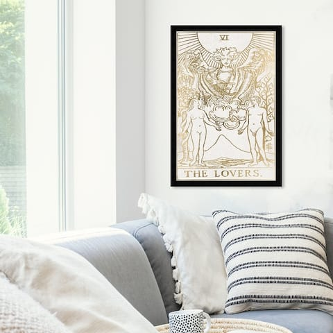 Oliver Gal 'The Lovers Tarot Luxe' Spiritual and Religious Framed Wall Art Prints Zodiac - Gold, White