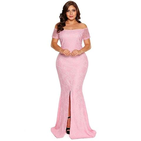 FUSENFENG Womens Plus Size Evening Gowns Lace Off Shoulder, Pink, Size XXX-Large