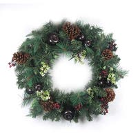 "24"" Pre-Decorated Red Berry, Pine Cone, Apple Artificial Christmas Wreath -Unlit - green"