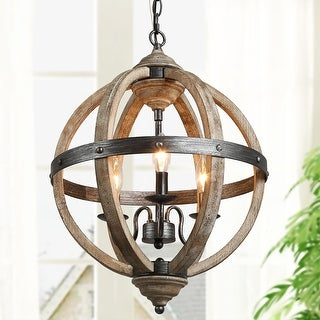 """Link to Farmhouse Antique Wood 3-Light Chandelier Global Hanging Pendant for Dining Room Kitchen Island - W 15.7""""x H 21.5"""" Similar Items in Chandeliers"""