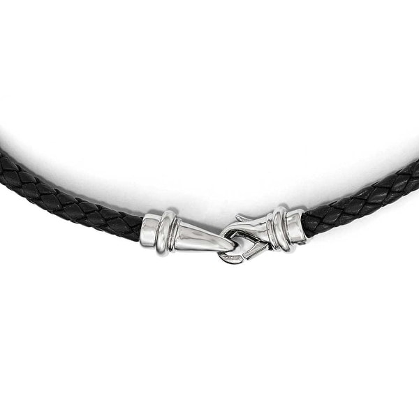 Chisel Stainless Steel Polished Woven Black Leather Necklace 16.25 inch - 16.25 in