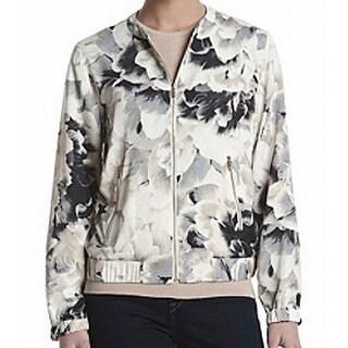 Calvin Klein NEW White Ivory Women's Size Small S Floral Bomber Jacket