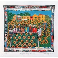 ''The Sunflower's Quilting Bee at Arles'' by Faith Ringgold African American Art Print (33.75 x 35 in.)
