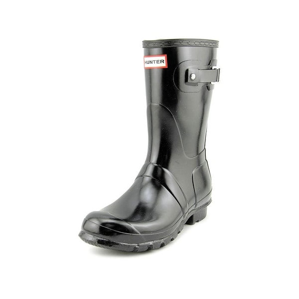 Hunter Original Short Gloss Women Round Toe Synthetic Black Rain Boot