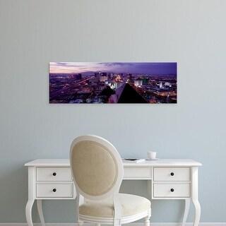 Easy Art Prints Panoramic Images's 'City lit up at dusk, Las Vegas, Clark County, Nevada, USA' Premium Canvas Art