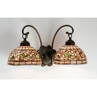 """Meyda Tiffany 18717 Turning Leaf 18"""" Wide 2-Light Double Sconce with Stained Glass Shades - Mahogany Bronze"""