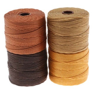 BeadSmith Super-Lon (S-Lon) Cord - Wheatberry Mix - Four 77 Yard Spools / Size 18 Cord