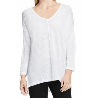 Two By Vince Camuto NEW White Womens Size Medium M Front-Seamed Knit Top