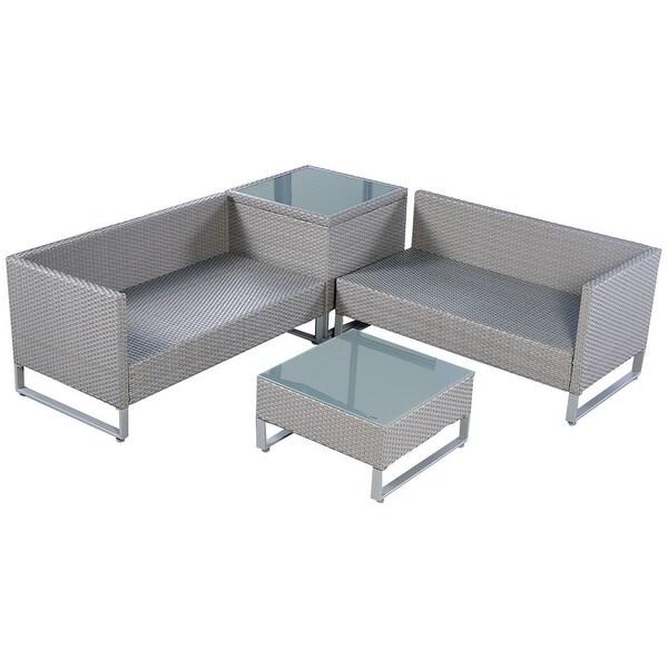 shop costway 4pcs gray rattan wicker patio sofa cushion seat set furniture lawn outdoor free. Black Bedroom Furniture Sets. Home Design Ideas