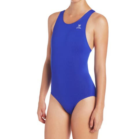 TYR Blue Womens Size Large L UPF 50+ Wicking One-Piece Swimwear