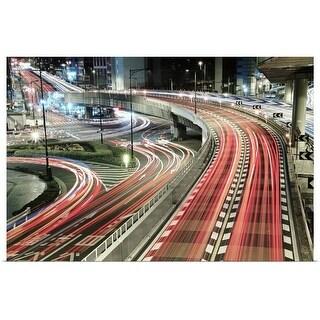 """Light trails on street at night, Tokyo, Japan."" Poster Print"