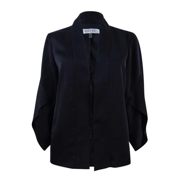 Kasper Women's Plus Size Crepe Back Satin Kimono Jacket - Black